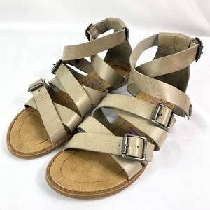 Blowfish buckle and snap gladiator sandals